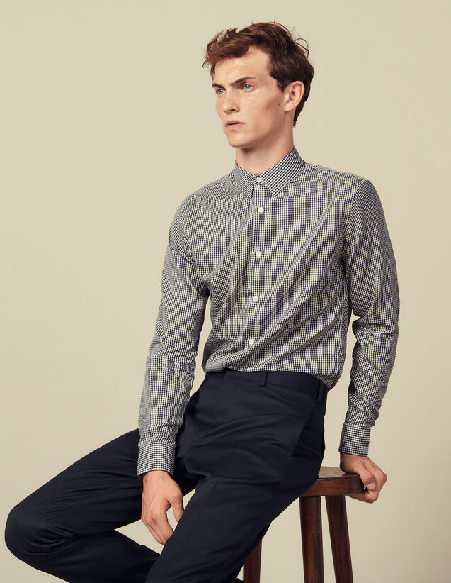 Seamless micro check shirt : Shirts color Navy Blue