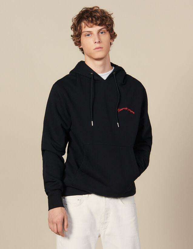 Hoodie With Lettering Embroidery : Sweatshirts color Black
