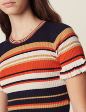 Striped Knit Top : Printed shirt color Terracotta