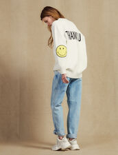 Cardigan With Contrasting Slogan : Sweaters & Cardigans color Ecru