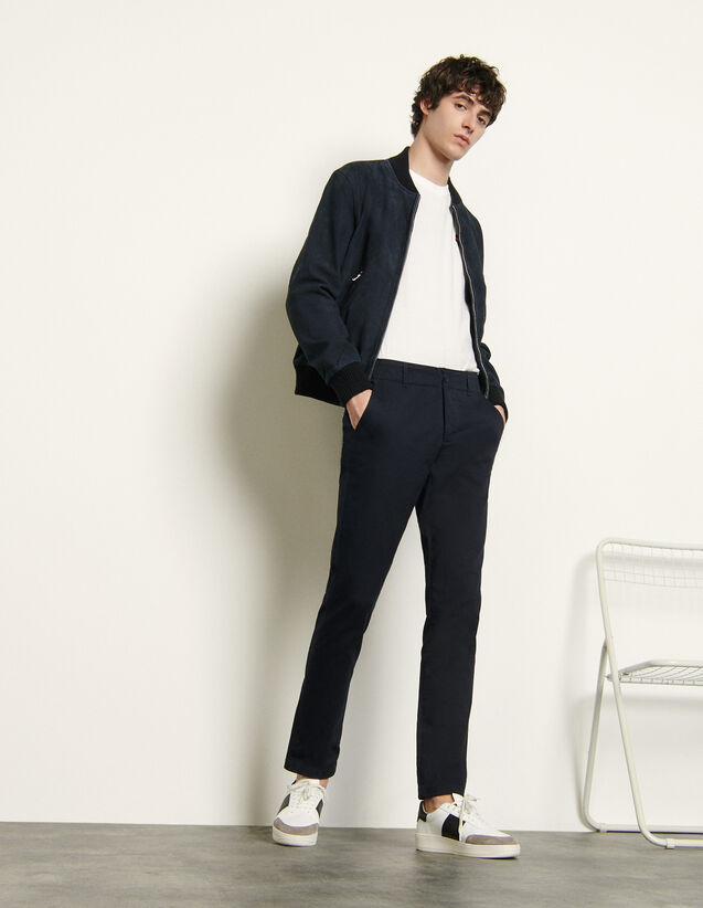 Chino trousers in stretch cotton : Pants & Shorts color Navy Blue