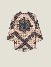Printed silk twill top : FBlackFriday-FR-FSelection-40 color Black