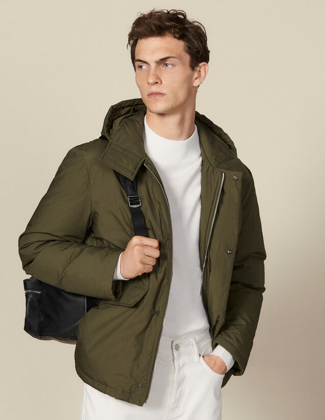 Cotton goose down padded jacket : Trench coats & Coats color Olive Green