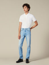 Washed Slim Jeans : Winter Collection color Blue Vintage - Denim