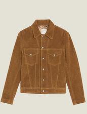 Split Leather Trucker Jacket : Blazers & Jackets color Camel