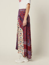 Long Patchwork Printed Skirt : LastChance-FR-FSelection color Bordeaux