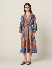 Long Printed Silk Dress : null color Multi-Color