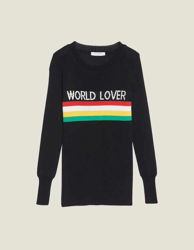 Sweater With Coloured Stripes : Sweaters & Cardigans color Black