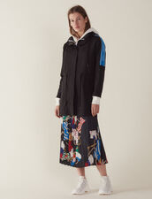 Windbreaker Coat With Lettering On Trim : Coats color Black