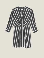 Short Striped Dress With V-Neck : LastChance-FR-FSelection color Black