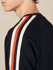 Cotton Sweatshirt With Braid Trims : All Winter collection color Navy Blue