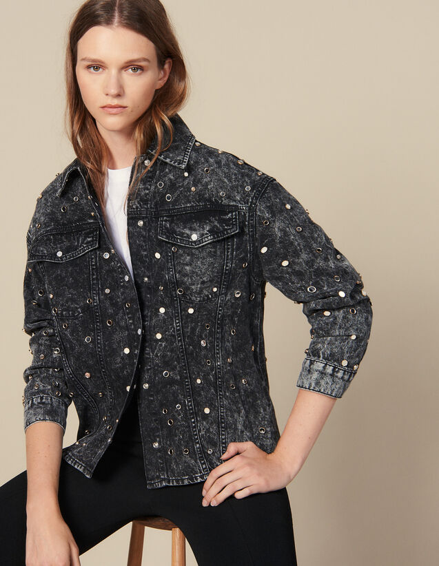Denim Shirt Trimmed With Studs : Tops & Shirts color Black