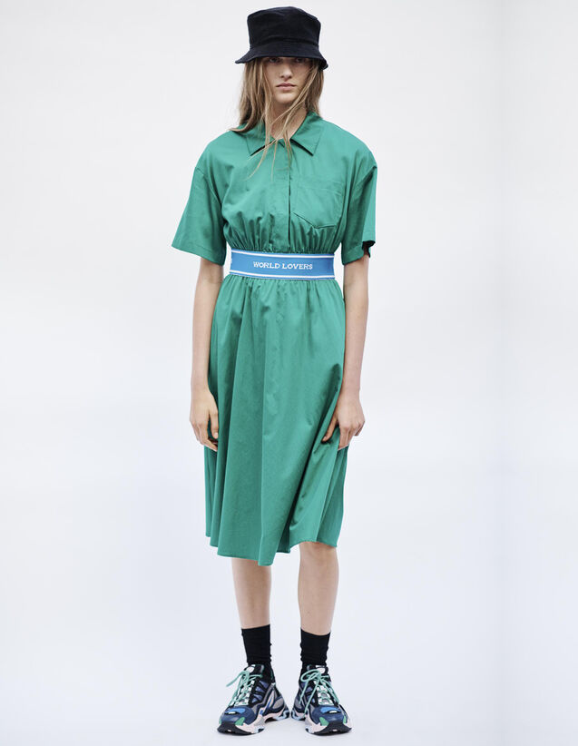 Cotton Satin Dress : Dresses color Green