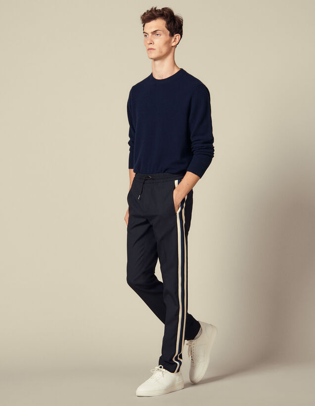 Smart Trousers With Braid Trim On Sides : Pants & Shorts color Navy Blue
