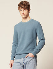 Textured Cotton Knit Sweater : Sélection Last Chance color Steel blue