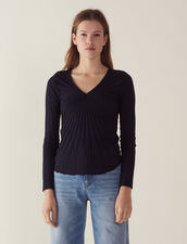 Long-Sleeved Cotton Sweater : All Selection color Navy Blue