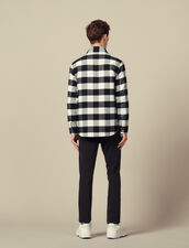 Checked Wool Shirt Jacket : Blazers & Jackets color Black/White