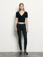 Ribbed knit cropped top : Tops & Shirts color Black