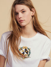 Cropped T-Shirt With Embroidery : null color white