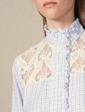 High-collar checked shirt : LastChance-ES-F50 color Ecru
