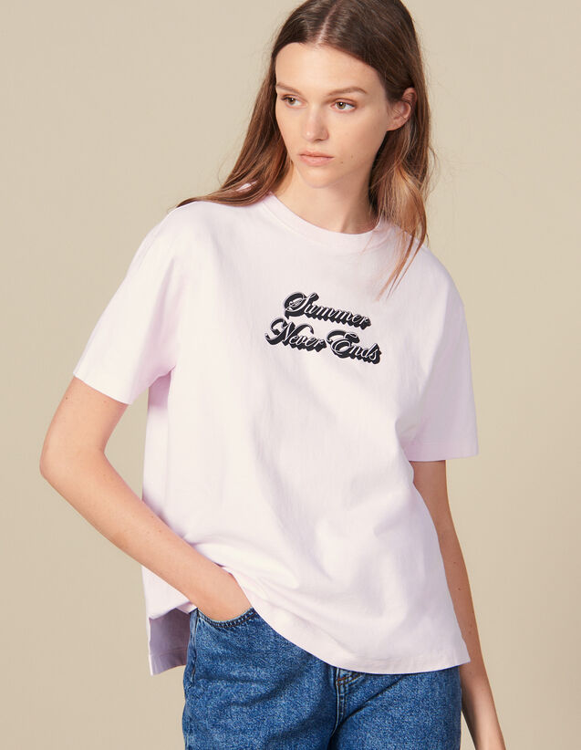 T-Shirt With Lettering : T-shirts color Pink