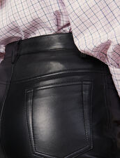 Straight leather trousers with seaming : Pants color Black