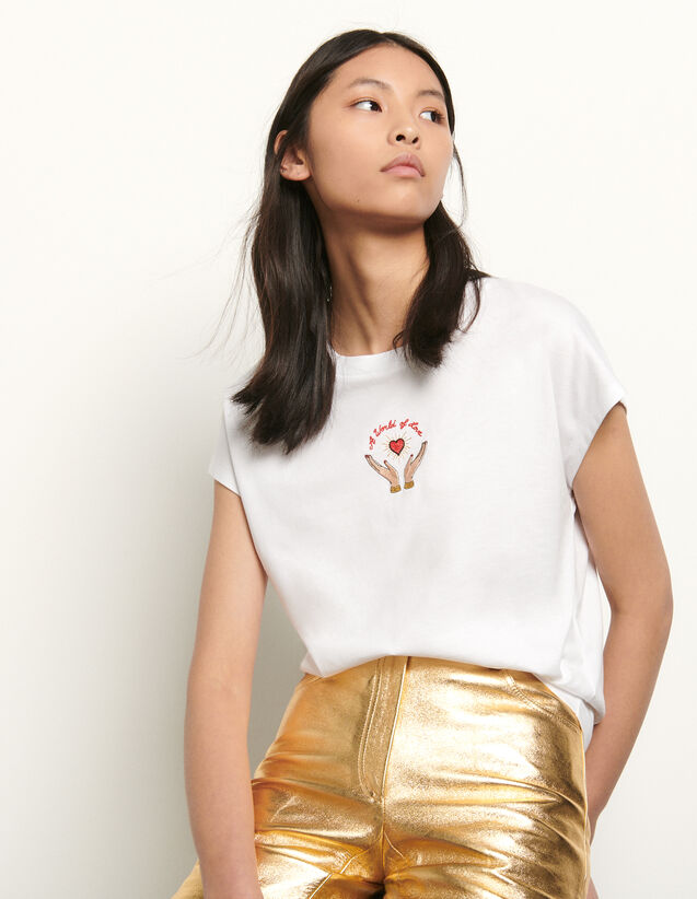 Embroidered sleeveless T-shirt : T-shirts color white