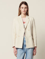 Pinstriped Tailored Jacket : All Selection color white