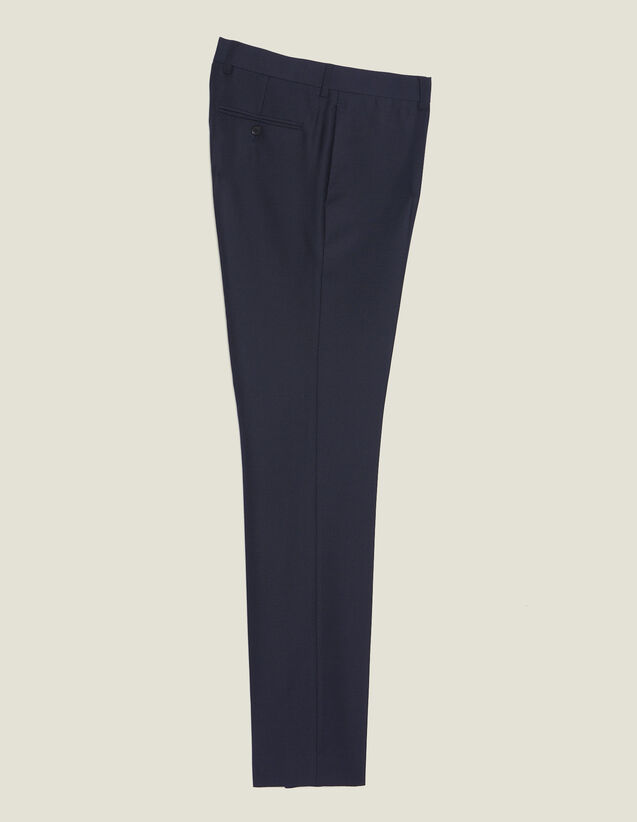 Basketweave Wool Suit Trousers : All Selection color Navy Blue