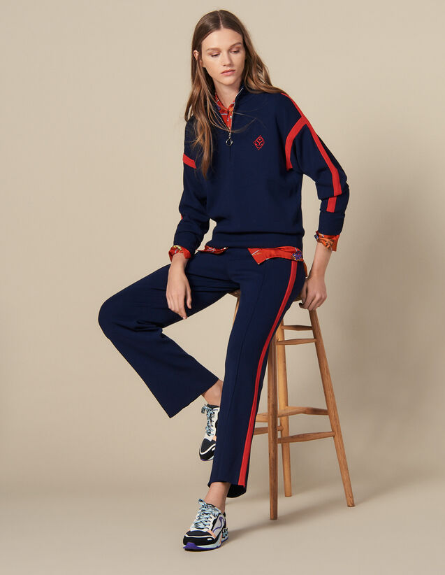 Knit jogging bottoms : Pants color Navy Blue
