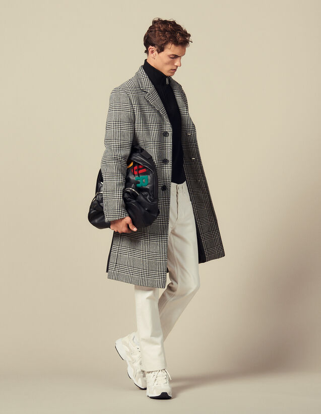 Prince of Wales check straight-cut coat : Trench coats & Coats color Black/White