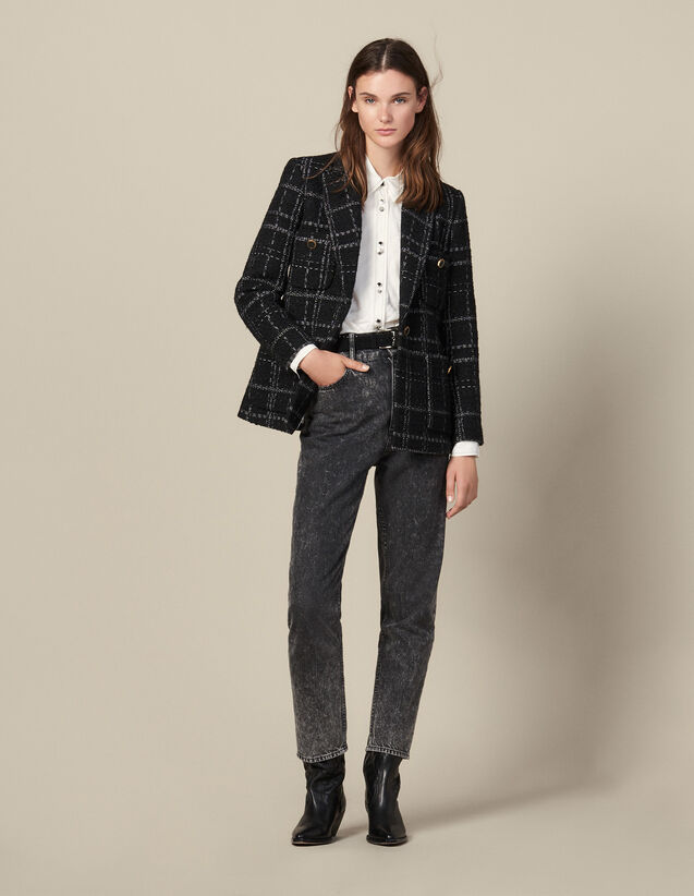 Tweed tailored jacket : Blazers & Jackets color Black