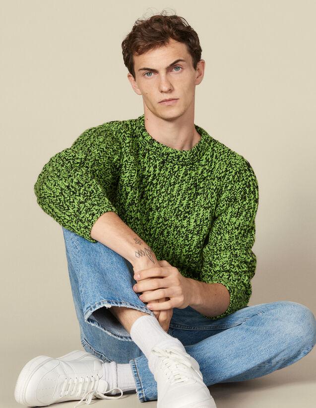 Mottled Sweater : LastChance-IT-H50 color Vert/Noir