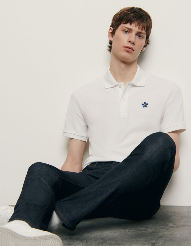 Cotton polo shirt with embroidered patch : New Summer Collection color Navy Blue
