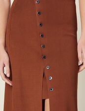 Knit Skirt With Slit : Skirts & Shorts color Brown