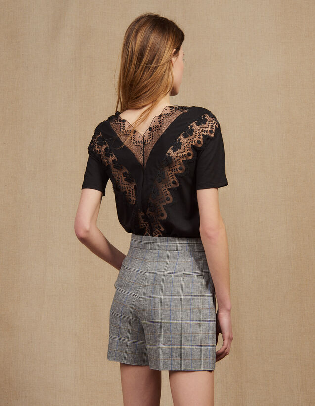 Short-Sleeved Lace Top : T-shirts color Black