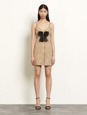 Tweed dress with straps : Dresses color Beige
