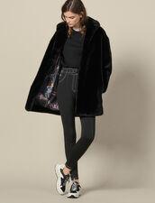Faux Fur Coat : Coats color Black