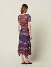 Long Knit Skirt With Zigzag Print : All Selection color Terracotta