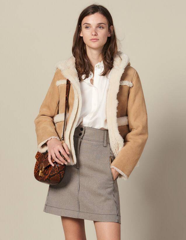 Short A-Line Skirt In Houndstooth : Copy of VP-FR-FSelection-Jupes&Shorts color Camel