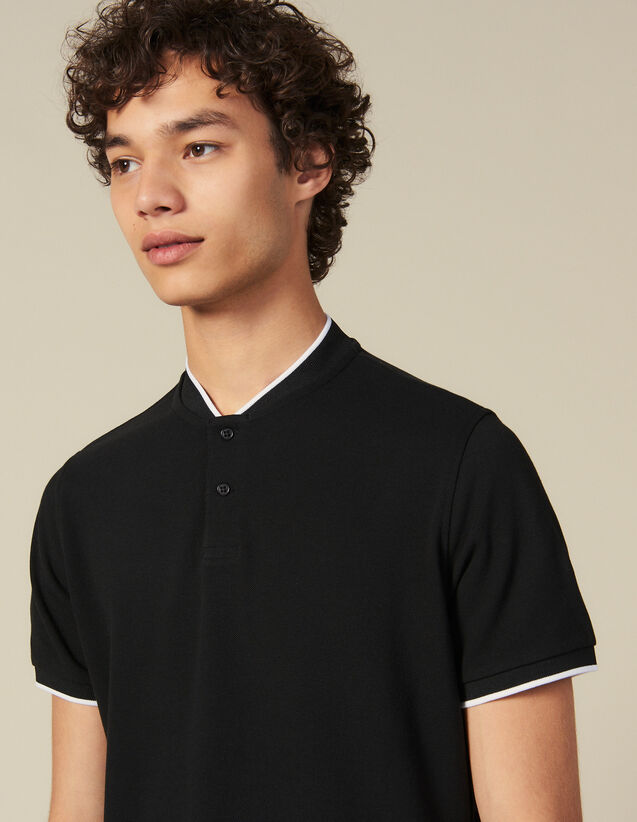 Polo shirt with contrasting collar : All Winter collection color Navy Blue