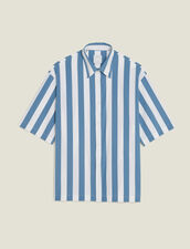 Casual Striped Short-Sleeved Shirt : Soak up the sun color Blue