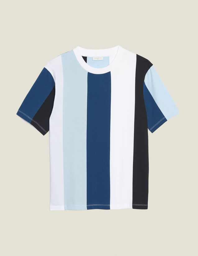 T-Shirt With Wide Stripes : T-shirts & Polo shirts color Blue