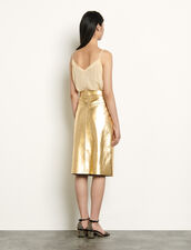Metallic leather skirt : Skirts & Shorts color Gold