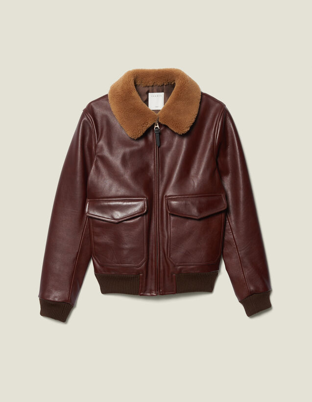 Leather Flight Jacket With Sheepskin : Blazers & Jackets color Bordeaux