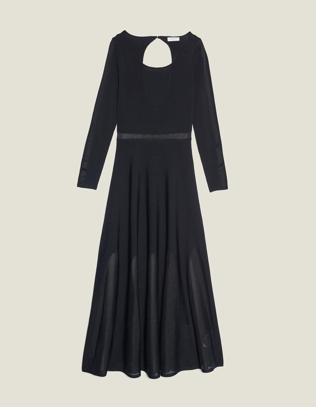 Long Knitted Dress With Open Back : All Selection color Black