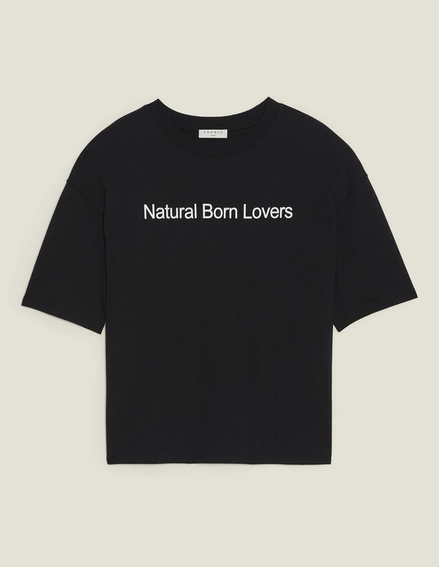 Oversized T-Shirt With Slogan : T-shirts color Black