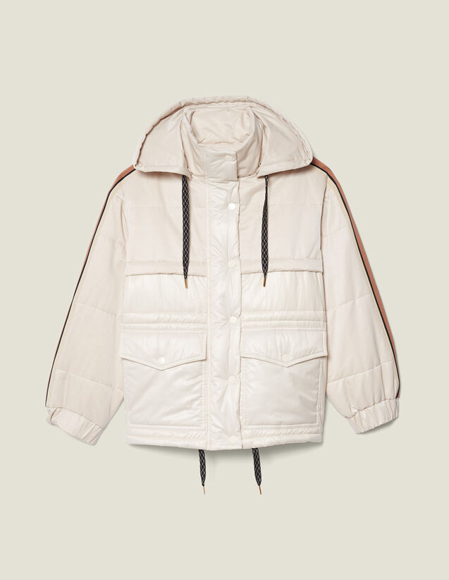 Padded jacket with braid trim : Coats color Ecru