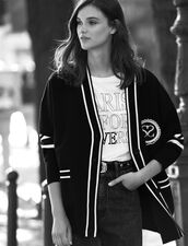Cardi-coat with contrasting stripes : All Selection color Black
