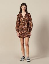 Short Printed Silk Dress : Dresses color Wildcat (Fawn)